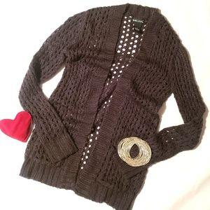 Wet Seal Gray Open Knit Cardigan - XS